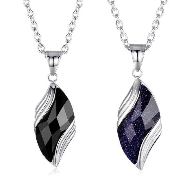 bb8d4c871d3 Angel Eye Black Onyx Stone Inlay Pendant Choker for Men Titanium Steel  55cm+5cm Chain