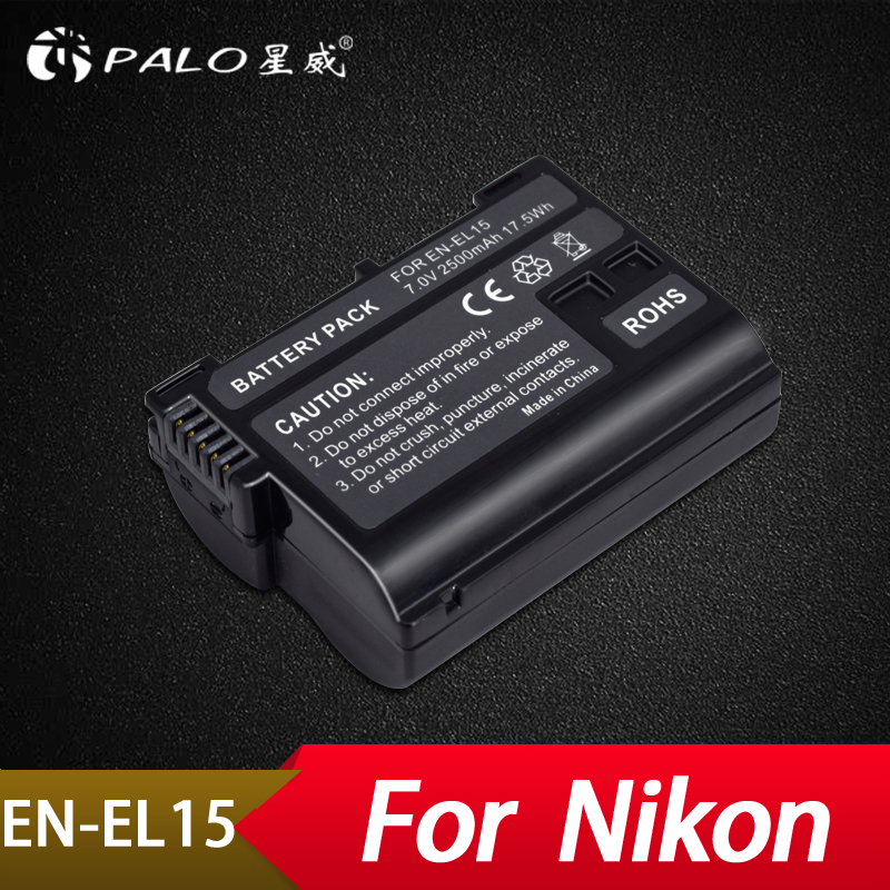 Palo 1 piezas 2500 mAh EN-EL15 ENEL15 EN EL15 Cámara decoded batería para Nikon DSLR D600 D610 D800 D800E D810 d7000 D7100 D7200