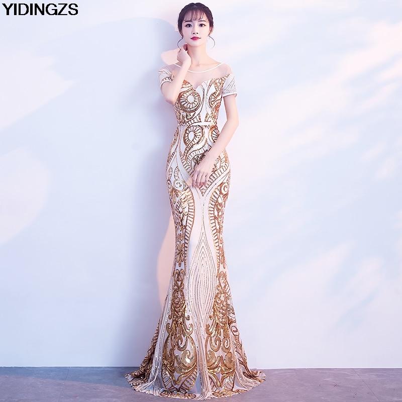 Товар YIDINGZS Elegant Backless Long Evening Dress Mermaid Black ... d00b7c9a51ed