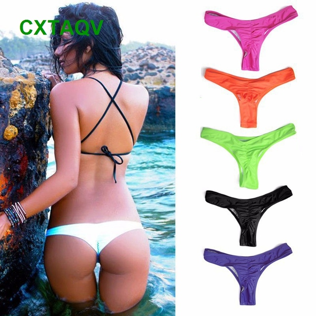 5d7d12ee8fa 2018 Low Waist Bikini Bottom Pleated Swimsuit Triangle Swimming Suit Shorts  Sexy Women Brazilian Bathing Trunks Wholesale Price
