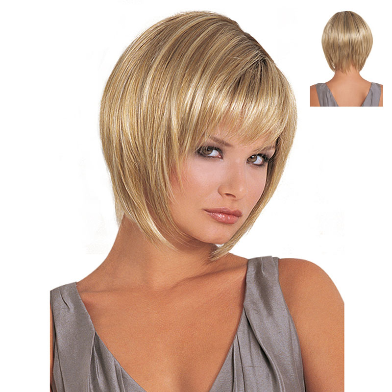 Heat Resistant Synthetic Dark Roots Blonde Ombre Wig For Women African American Wigs With Bangs