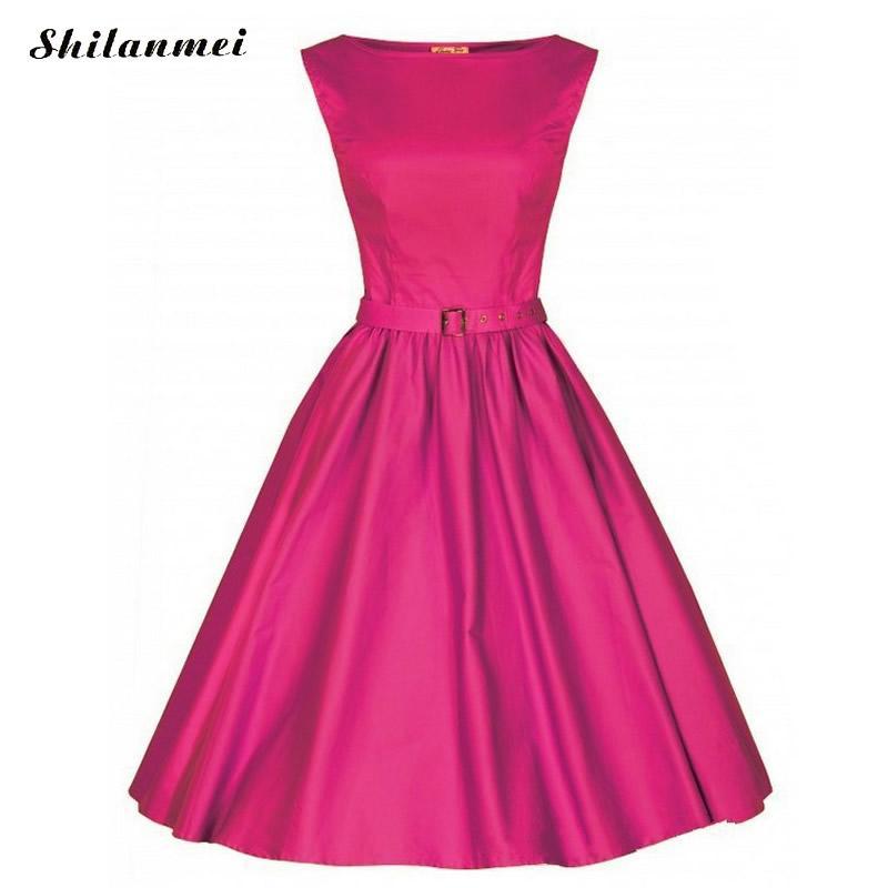 Carimac Apparel Store Woman Vintage Dresses 50s 60s Retro Hepburn Wind Ball Grown Dress Plus Size Summer Solid Party Retro Dress Jurken Vestido New