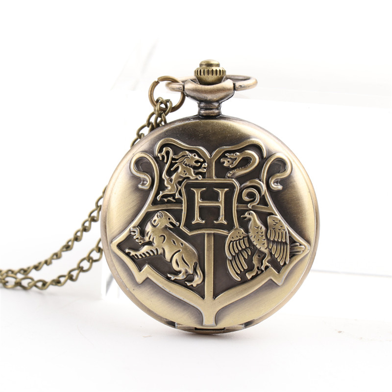Cindiry Vintage Bronze Harry Potter Necklace Pocket Quartz Pocket Watch Steampunk Necklace Pendant Chain Clock Men Best Gift vintage antique carving motorcycle steampunk quartz pocket watch retro bronze women men necklace pendant clock with chain toy