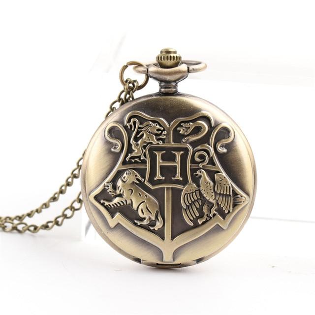Cindiry Vintage Bronze Harry Potter Necklace Pocket Quartz Pocket Watch Steampun