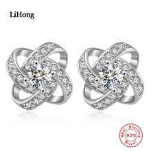 925 Sterling Silver Weave Round Shape Stud Earrings for Women Clear Cubic Zirconia Fashion Anniversary Jewelry недорого