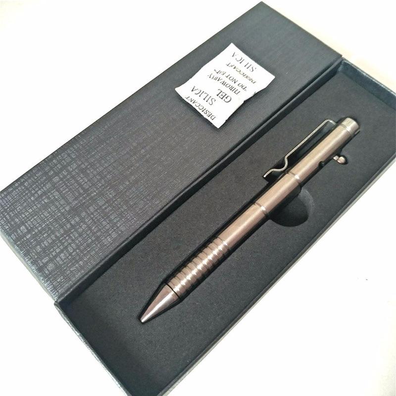 EDC-Bolígrafo táctico de titanio multifuncional para uso en exteriores, plumas de defensa personal con cabeza de acero de tungsteno y acelerador