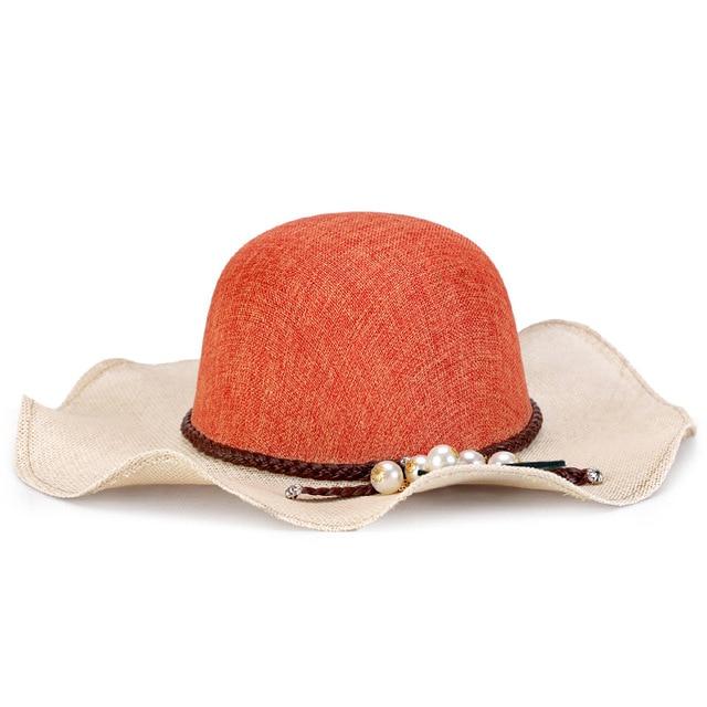Sombrero de primavera y verano de las nuevas mujeres Ropa de moda visera de sol sombrero casquillo de la playa del Color de la perla