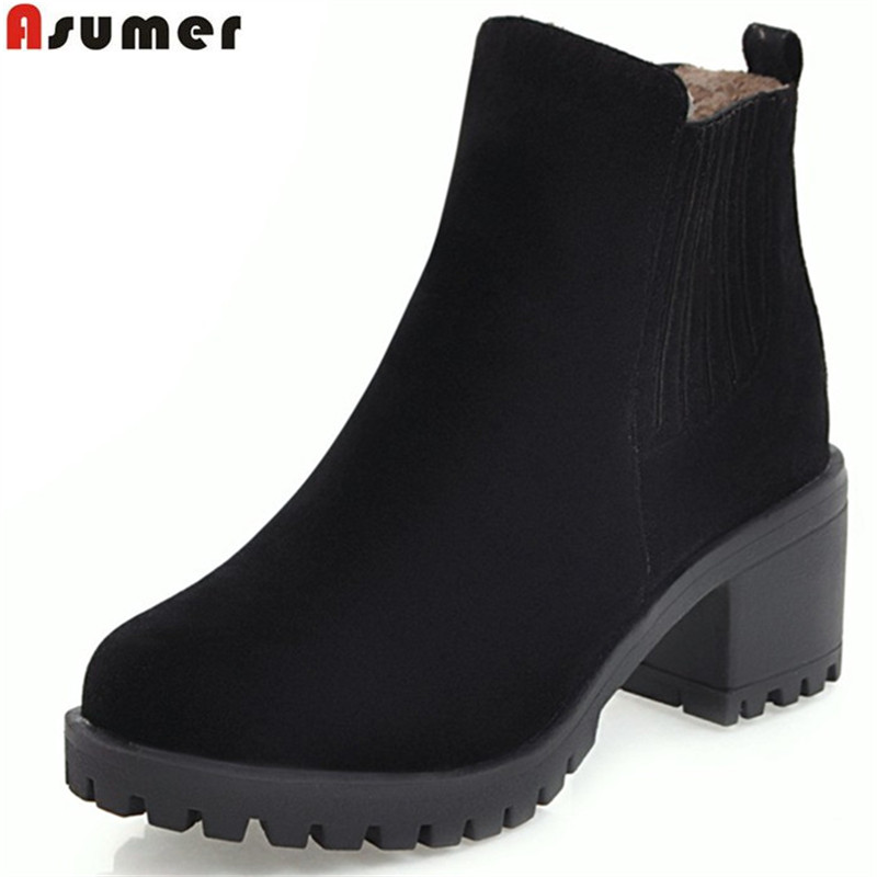 ASUMER 2018 hot sale women boots black red autumn winter ladies boots flock round toe square heel ankle boots big size 34-43 armoire hot sales black yellow red brown gray flats women slouch ankle boots solid ladies winter nude shoes aa 3 nubuck