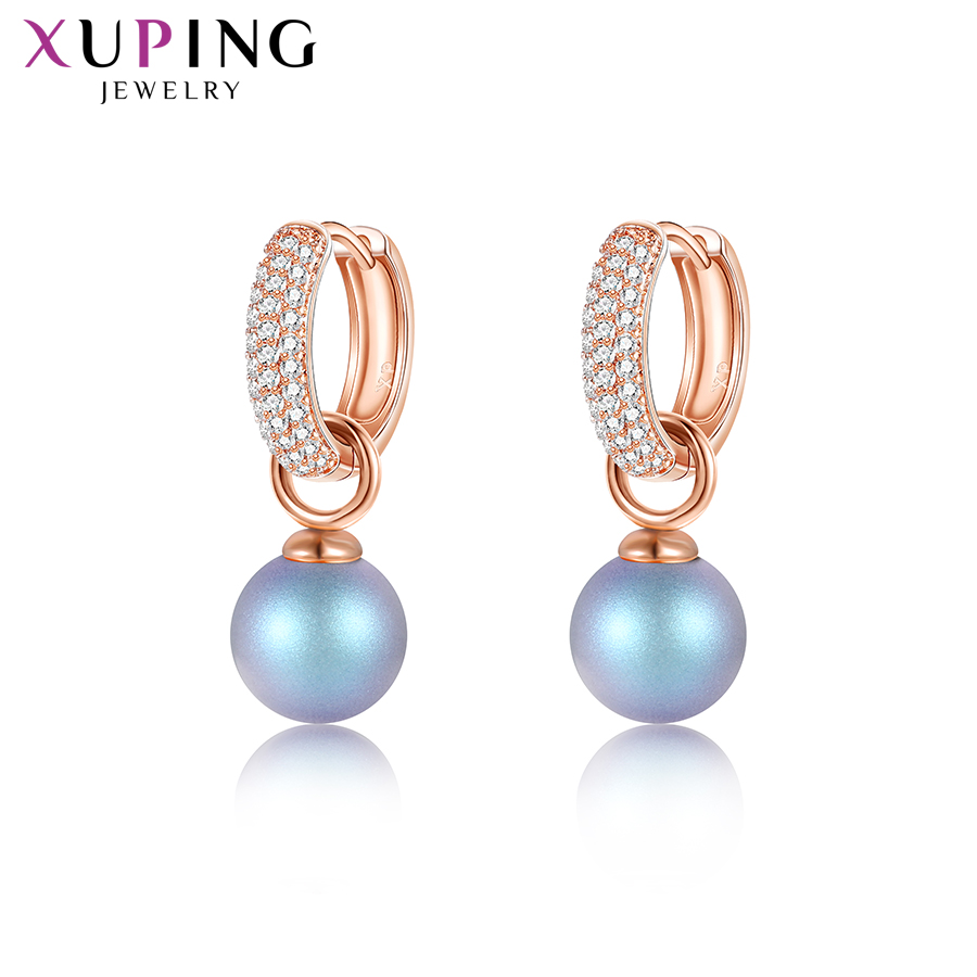 Nice Xupingg Jewelry Romantic Imitation Pearl Earrings Luxury Crystals From Swarovski High Quality Wedding Gifts M85-20443 Hoop Earrings