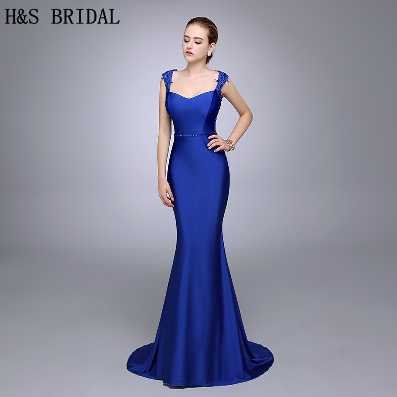 Real photo royal blue lace applique mermaid evening dress for Royal blue wedding guest dress