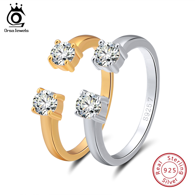ORSA JEWELS Real 925 Sterling Silver Rings Open Design Silver&Gold Color AAA Zir