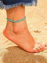 цена на 2019 Europe And America New Jewelry Fashion Beach Wind Blue Beaded Shell Alloy Pendant Anklet For Women Accessories Wholesale