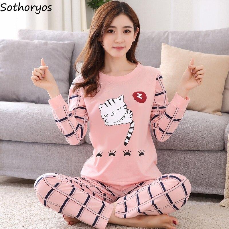Pajamas     Sets   Women O-Neck Cartoon Printing Kawaii Cotton Sleepwear   Pajamas   Womens Winter Soft Korean Homewear 2 Pieces Cute   Set