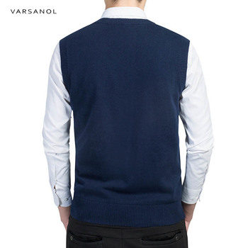 Varsanol Brand Clothing Pullover Sweater Men Autumn V Neck Slim Vest Sweaters Sleeveless Men's Warm Sweater Cotton Casual M-3xl 1