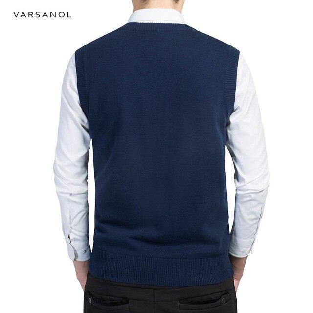 Varsanol Brand Clothing Pullover Sweater Men Autumn V Neck Slim Vest Sweaters Sleeveless Men's Warm Sweater Cotton Casual M-3xl 1