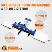 4 farbe Siebdruck 2 Station Einstellbare Geräte Drücken Drucker DIY Shirt Siebdruck Maschine