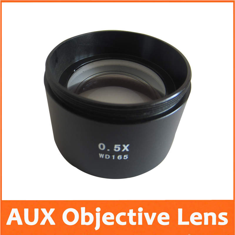 ФОТО 0.5X Power Barlow AUX Auxiliary Attachment Objective Lens Stereo Microscope Accessories Fitting Accessory M48*0.75 W.D=165MM