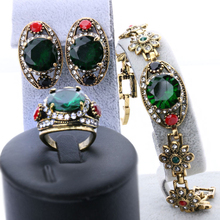 3pcs 2016 Green Women Love Turkish Jewelry Sets Gold Color Vintage Look Earrings And Bracelet Ring