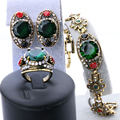 3pcs 2016 Green Women Love Turkish Jewelry Sets Gold Plated Vintage Look Earrings And Bracelet Ring Wedding Crystal Accessories