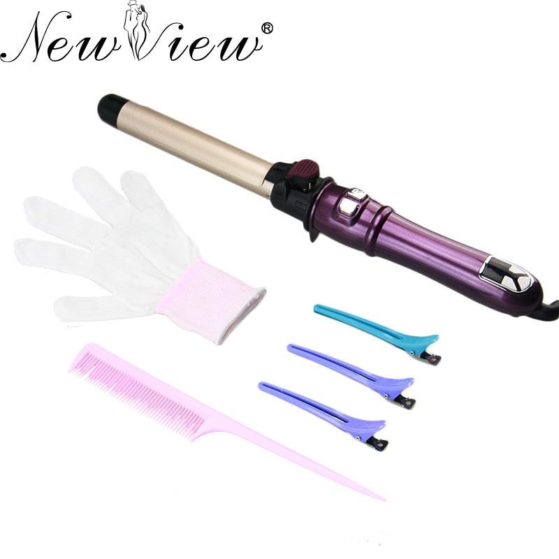 Newview Керамика электрические бигуди для волос автоматический поворот ЖК-дисплей щипцы для завивки волос Styler Professional