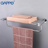 GAPPO Bathroom Shelves Towel Rack Brass Bathroom Towel Holders Double Rails Bath Storage Shelf Wall Mounted