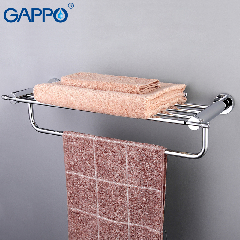 GAPPO Bathroom Shelves Towel Rack Brass Bathroom Towel Holders Double Rails Bath Storage Shelf Wall Mounted Bathroom Accessorie