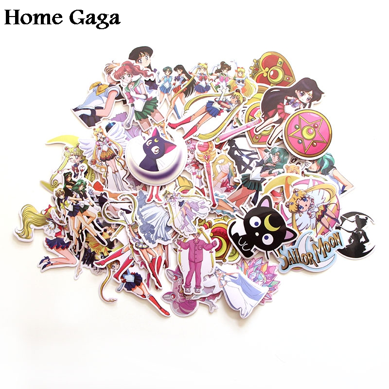 Homegaga 56pcs Sailor Moon 90s Art Print Home Decor Wall Notebook Luggage Laptop Bicycle Scrapbooking Album Decal Stickers D1339