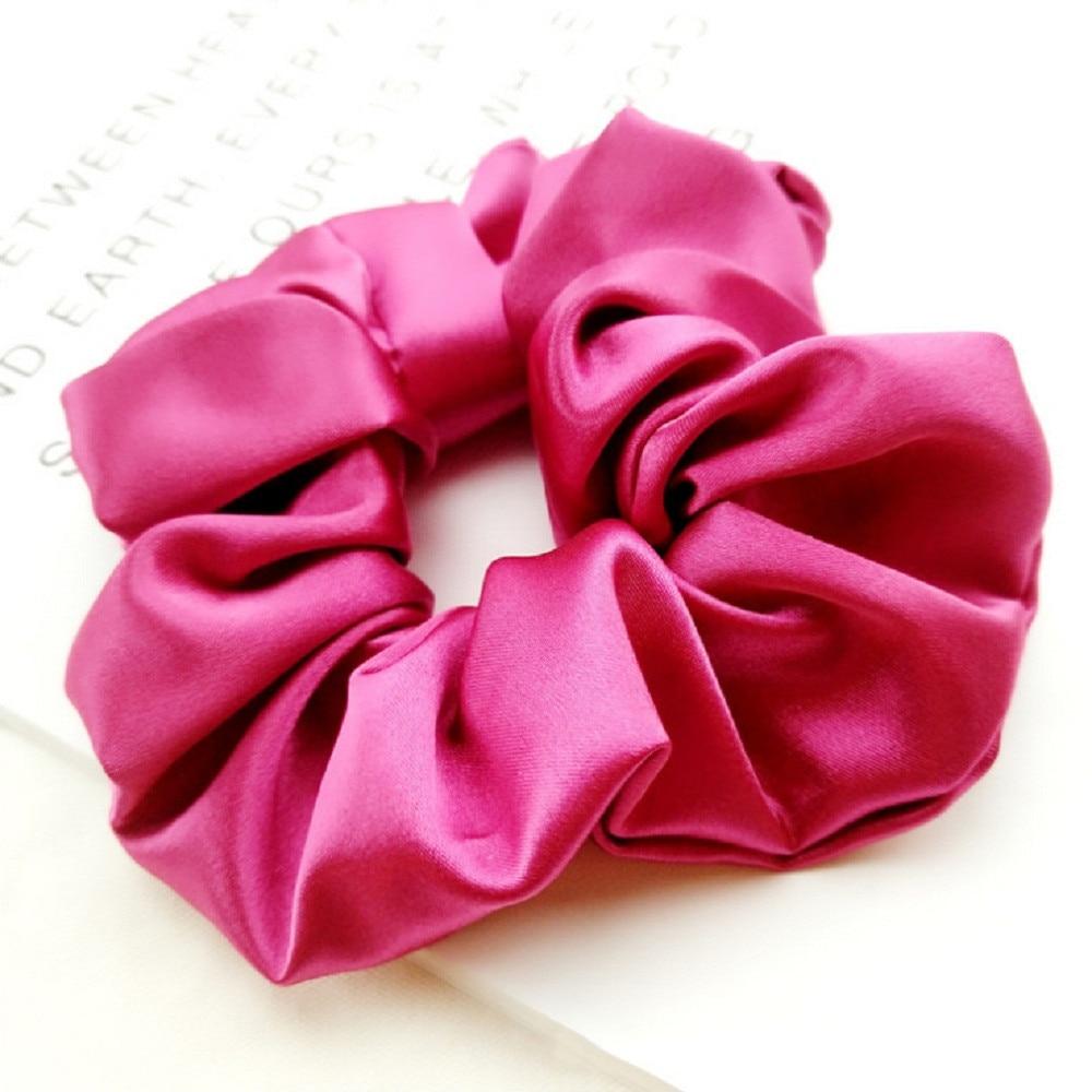 Fashion Women Faux Silk Solid Scrunchies Lady Simple Elastic Satin Female Girl Holder Rope Hair Accessories