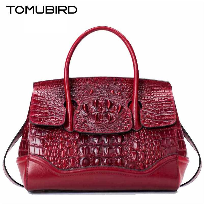 TOMUBIRD new superior genuine leather brand women bags Embossed Crocodile Designer tote bag Leather Luxury handbags tomubird 2017 new superior leather retro embossed designer famous brand women bag genuine leather tote handbags shoulder bag