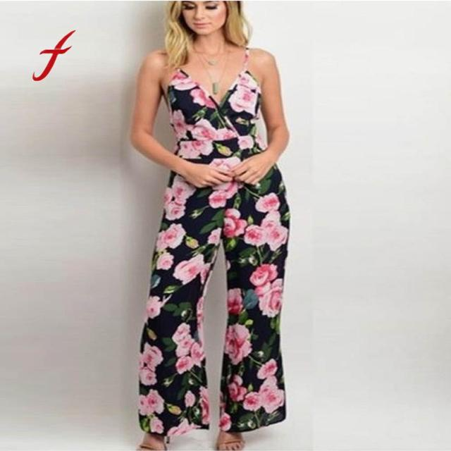 ec22609ab2de Feitong Hot Sale Casual Jumpsuit Womens Strappy Floral V Neck Long Trouser Playsuits  Jumpsuit Rompers Holiday Floral Jumpsuit