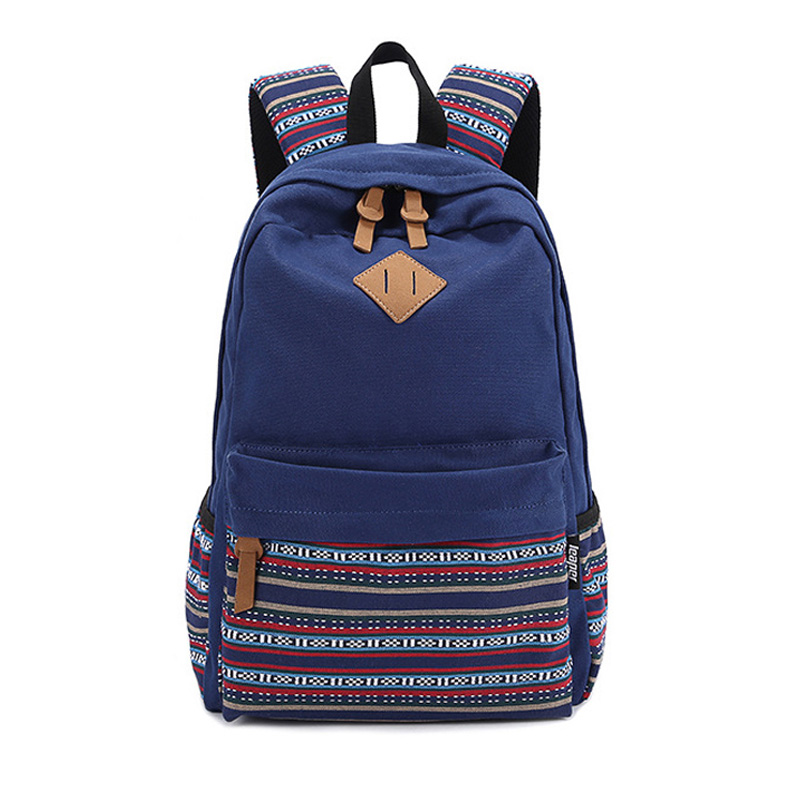 Korean Canvas Fashion Printing Backpack Teenager Schoolbag National Girls Cute Women Laptop Bag Travel Backpack  8860 рюкзак manbags korean fashion canvas shoulder teenager backpack travel bag