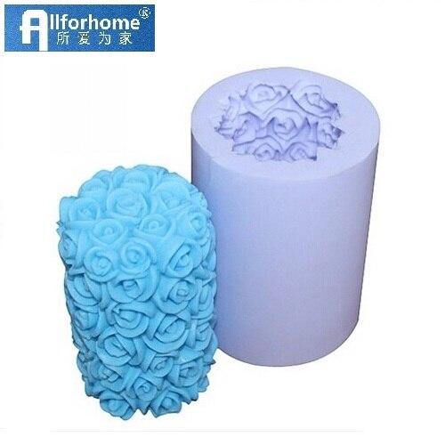 Allforhome Valentine Wedding Rose Cylinder Flower Silicone Candle DIY Mold Handmade Soap Mould Craft DIY Mould 3D Candle Mold