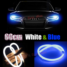 2x 60cm White Blue Switchback DRL with Turn Signal Flexible Tube Style LED Strips Car Motorcycle Headlight Angel Eyes Universal