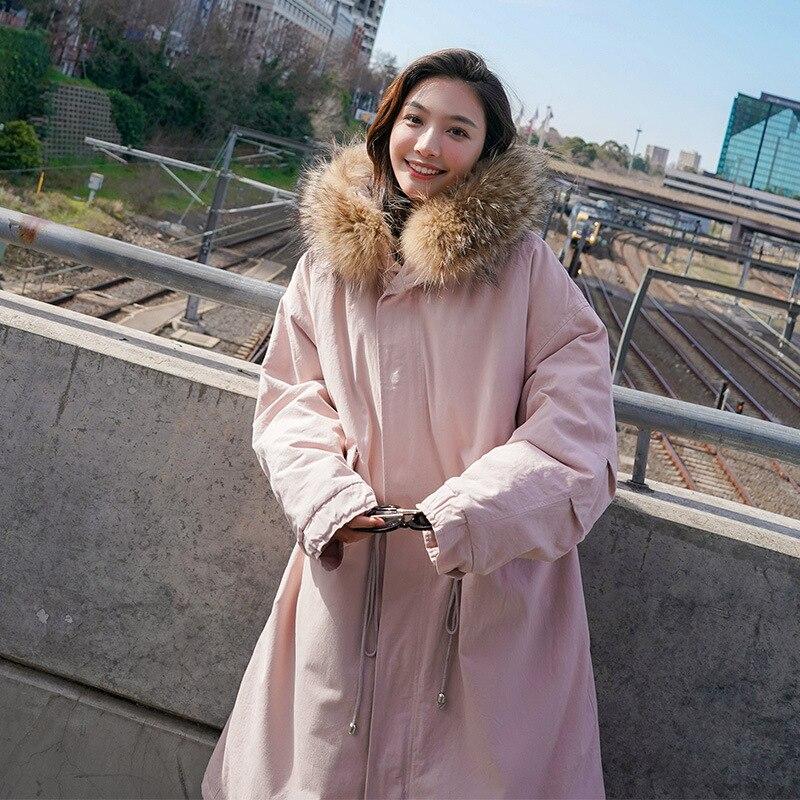 Fourrure De Lâche Manteau 2018 Naturel Veste Femmes Kaki Doudounes Col Grand Noir D'hiver Chaud rose Épaissie Coréen Rembourré wP7qSHw
