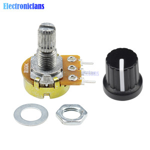 1 Set WH148 B1K B20K B50K B100K B500K 3Pin 15mm Linear Taper Rotary Potentiometer Shaft With Nuts Washers with Cap for Arduino