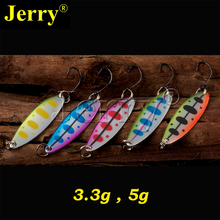Jerry 5pcs 3.3g 5g artificial fishing lures lightweight trolling spoons for trout perch metal spinner bait