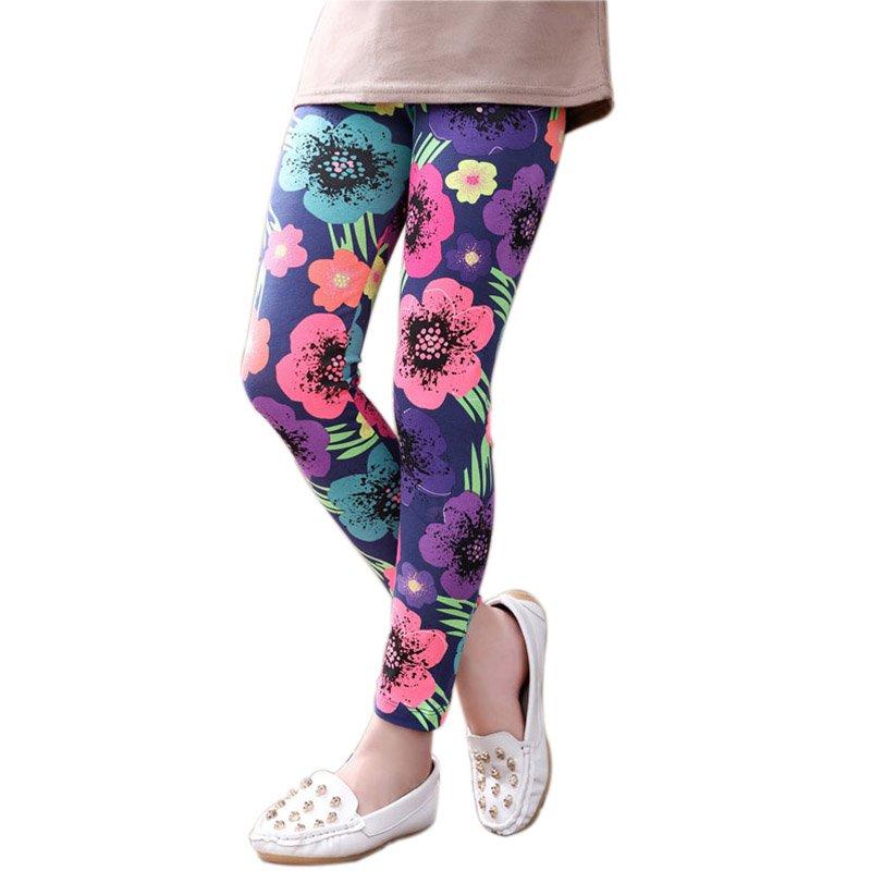 6 Colors Children Kids Girls Leggings Pants Flower Floral Printed Elastic Long Trousers 2-14Years Old