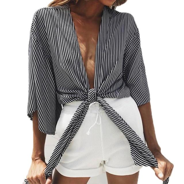 9300e14264c7 € 8.78 29% de DESCUENTO|CWLSP mujeres rayas camisa blusas Sexy medio manga  verano atado Hem camisa nueva moda tops blusas de mujer de moda 2018 QL3151  ...
