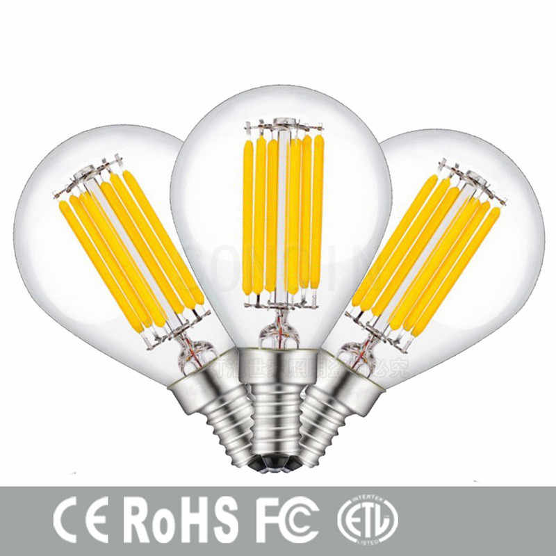 Free shipping Retro LED Filament Light lamp E27 E14  6W 12W 18W 110V / 220V G45 Clear Glass shell vintage edison led bulb
