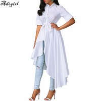 Adogirl 2018 Plus Size Fashion Asymmetric Irregular White Long Blouse Women Shirt Korean Spring Short Sleeve