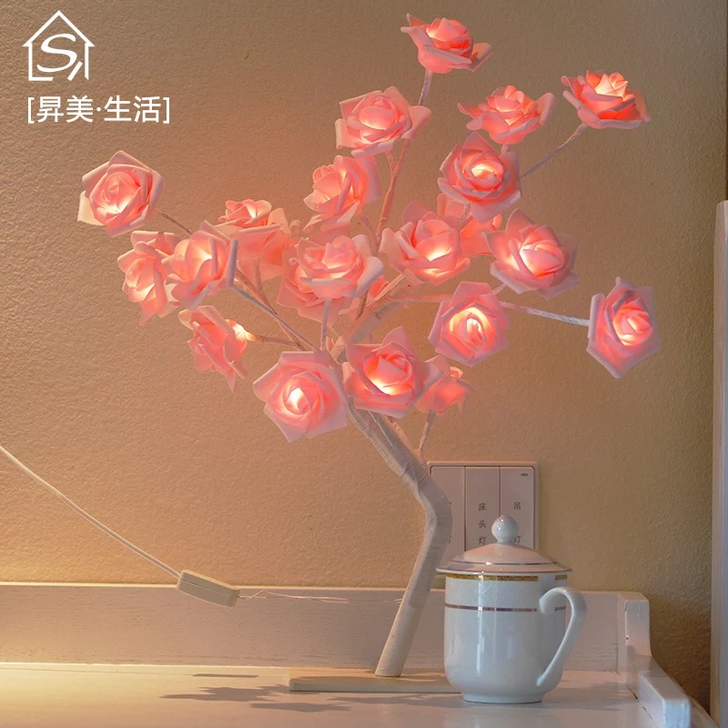 24 шт. светодиодный белый розовый цветок прикроватные Спальня Ночной светильник Настольная лампа украшение дома искусственное дерево Рождество Свадебная вечеринка - Цвет: Розовый