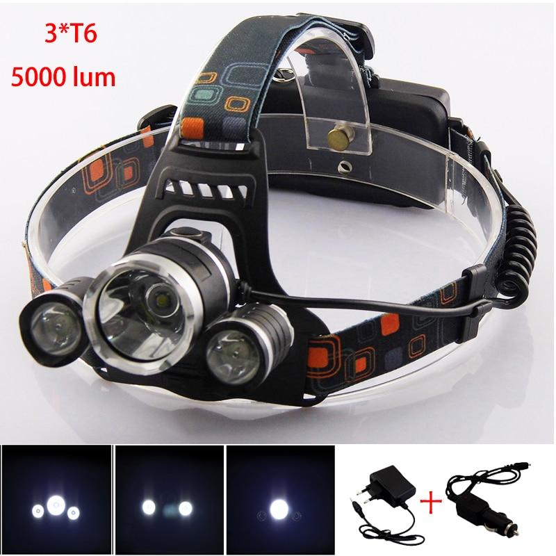 Super Bright 5000 Lumens LED Headlamp Torch Rechargeable Headlight Flashlight