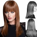Synthetic smooth straight long blonde wig with neat bangs girls styles Heat Resistant black long layered hair wigs for Women wig