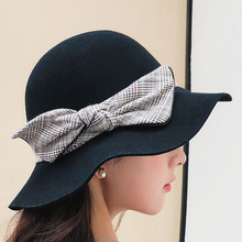 BINGYUANHAOXUAN 2018 New Fashion Fedoras Womens Jazz Hat Dome Butterfly 100% Wool Cap elegant Casual