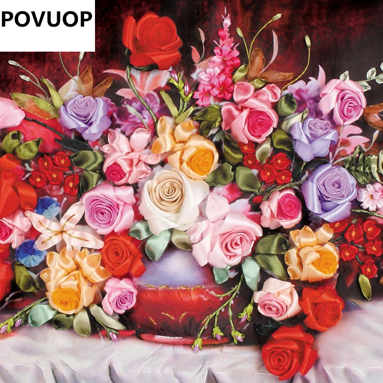 POVUOP Ribbon embroidery 100X55CM rose print 3d cross stitch paintings