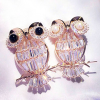 Qi Xuan_Brooch jewelry_Mini Owl Brooch Quilted High Carbon Zircon S925 Silver Pin Brooch Scarf Female