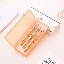 Buy Jinhao fountain Pen Set ink Pen pluma fuente estilografo 0.5mm&0.38mm&Gel Pen Gift Box Black Refill Student Suit Gift Stationery directly from merchant!