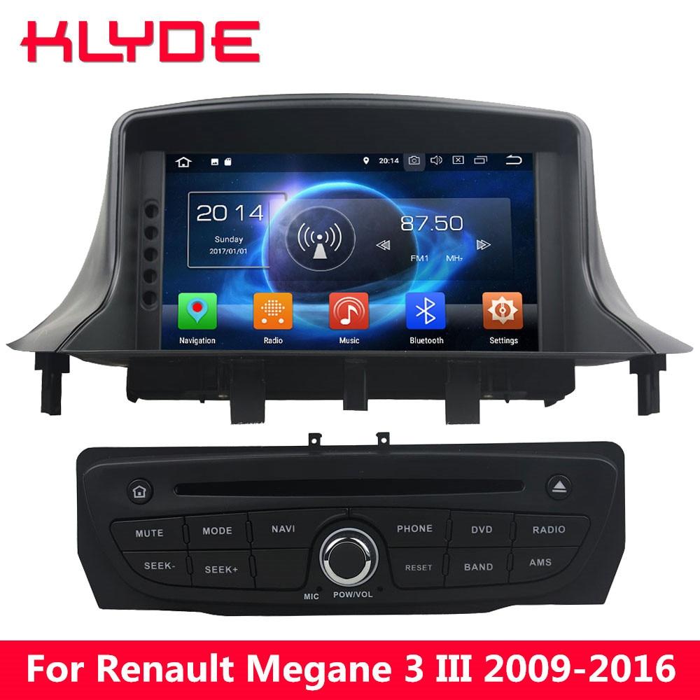 KLYDE 4G Android 8.0 Octa Core 4 GB + 32 GB lecteur DVD multimédia de voiture pour Renault Megane III 2009 2010 2011 2012 2013 2014 2015 2016