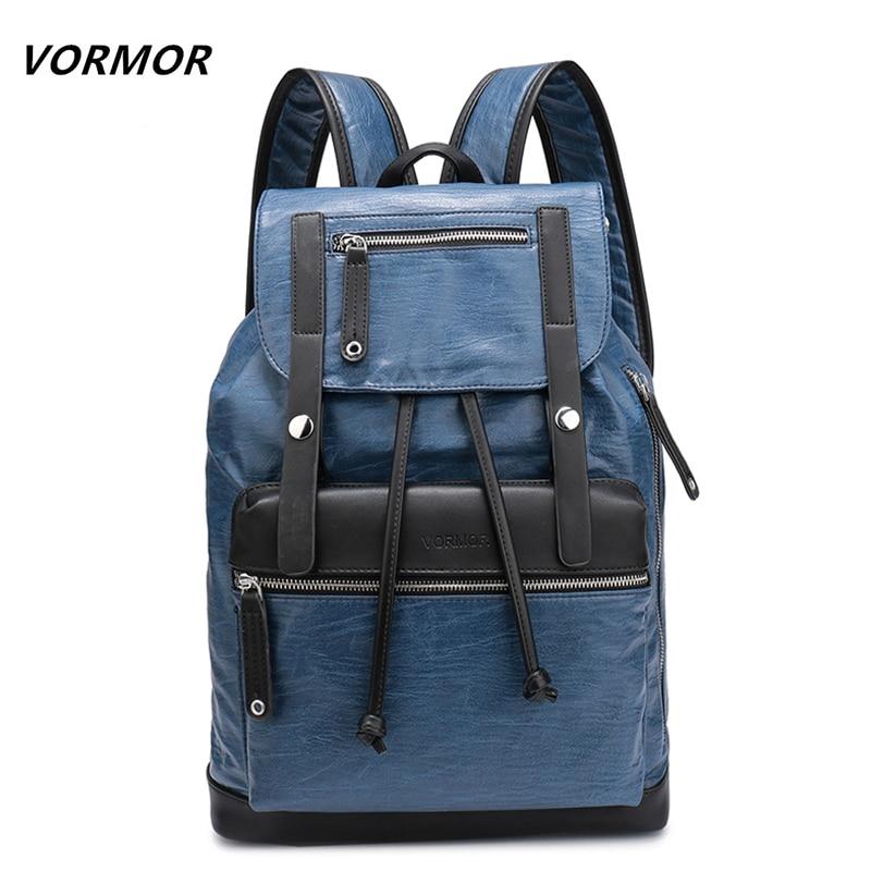 VORMOR бренд элегантный дизайн Для мужчин Повседневное рюкзаки для школы дорожная сумка из черной искусственной кожи Мужская Мода Daypacks Для му…