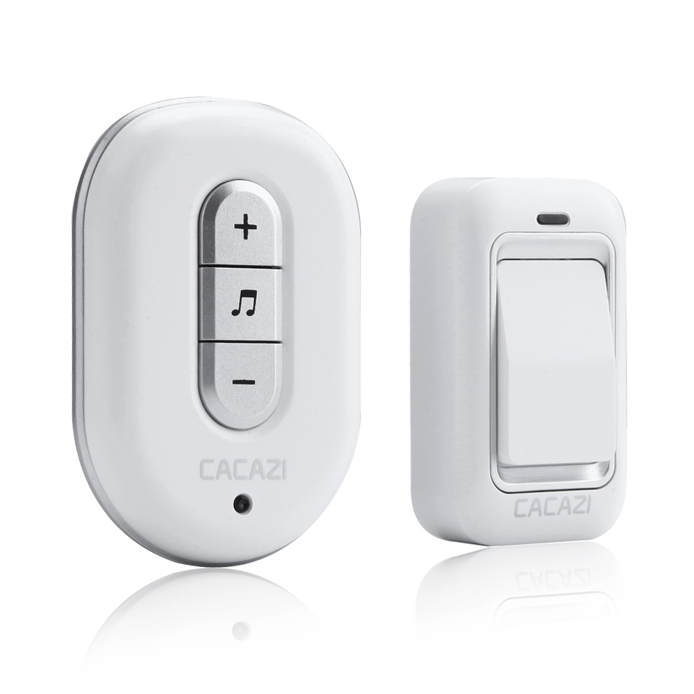 CACAZI Wireless DoorBell No Battery Need Waterproof smart Door Bell Cordless 120M Remote AC 110V-220V 1 emitter 1 Receiver cacazi wireless cordless doorbell remote door bell chime one button and two receivers no need battery waterproof eu us uk plug